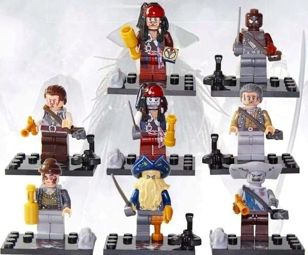 Set cu 8 Minifigurine tip Lego Piratii din Caraibe 2 cu Davy Jones