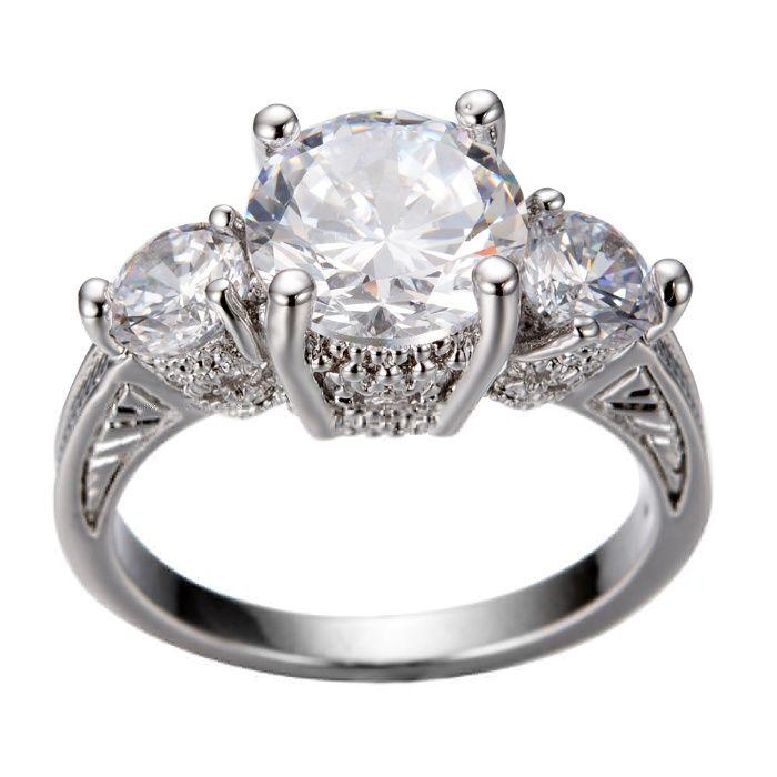 GPR147,inel placat aur 14k alb, zircon alb fatetat, logodna,masiv,