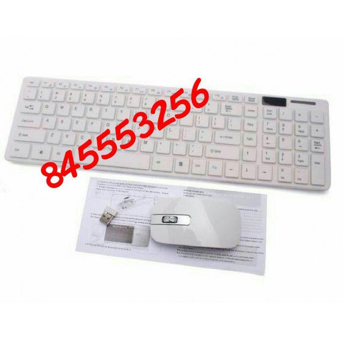 Kit de teclado e mouse wireless e capa de protecção contra poeira