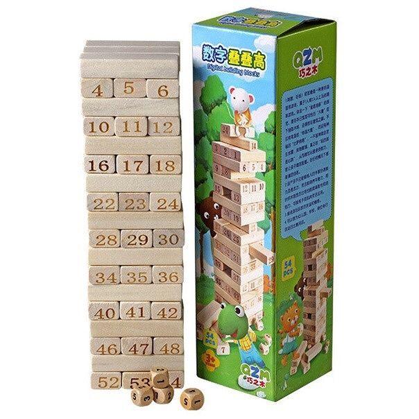 Настольная игра Jenga 54 брусков - 29х8х8см, Дженга с цифрами игрушки