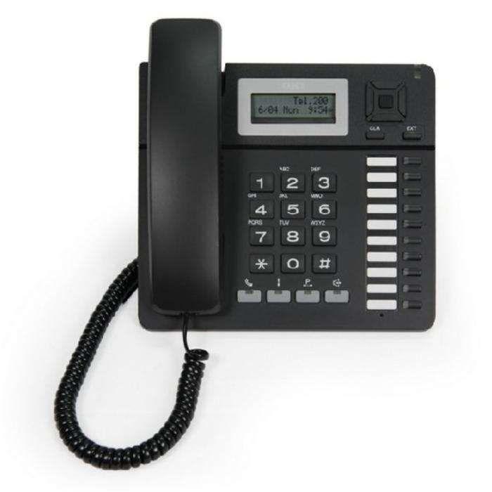 Telefone IP com display 16 x 2, Handsfree, cor preta