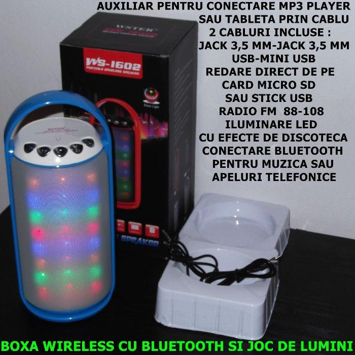 Boxa wireless cu bluetooth/aux/usb/radio/disco-3W putere reala-NOUA !!