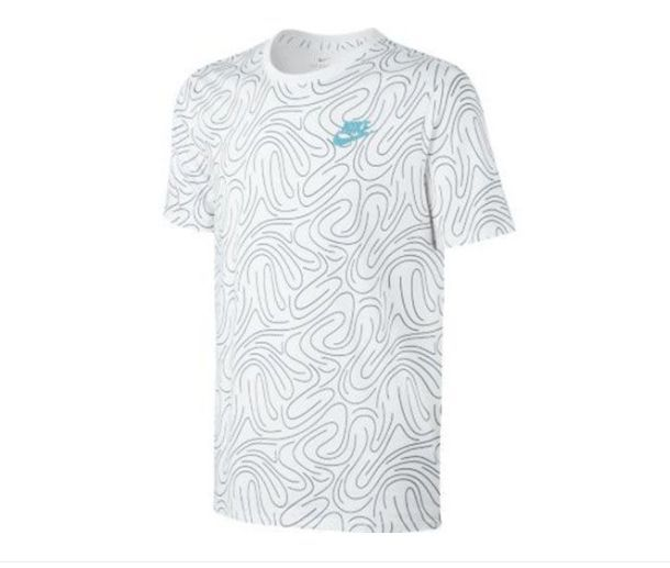 Tricou Nike Swoosh Print, Alb/Albastru, S -> NOU, SIGILAT, eticheta