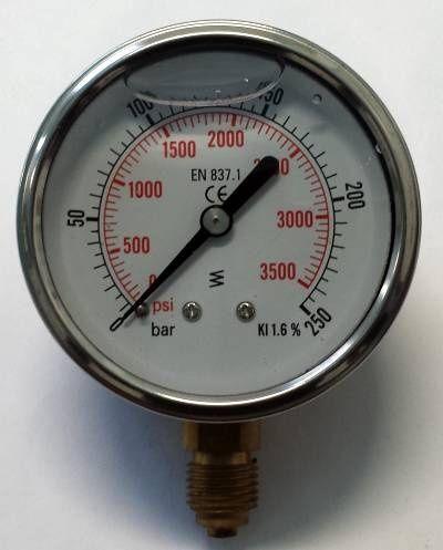 Manometru cu glicerina 0-250 bar axial - Manometru circuit hidraulic