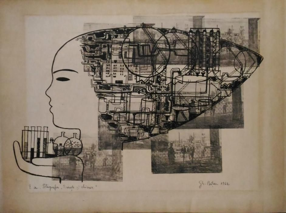Gravura-''Tinerete si Chimie''-Litografie-dim;50/45cm-'62-;Gh.Botan