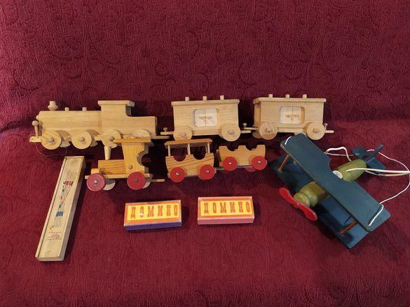 Детски дървени играчки, полилей дървен самолет, домино,micado игра.