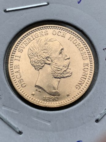 moneda aur suedia 20 coroane kronor 1890 Oscar II 8,96gr