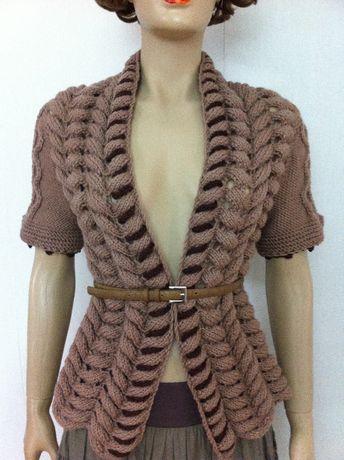 Bluza (top, jacheta, cardigan) dama lana unicat handmade