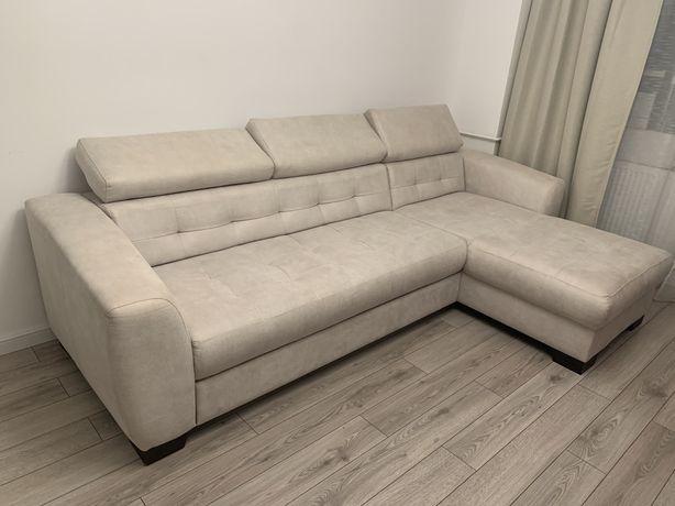 Canapea crem stofă impecabilă extensibilă
