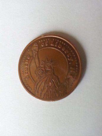 MEDALION STATUE of LIBERTY - USA , SUA - bronz - diam 30 mm