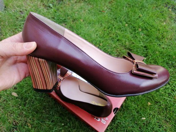 Pantofi din piele, 40, bordo