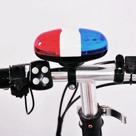 sirena 4 tonuri pt bicicleta cu stroboscop rosu si albastru