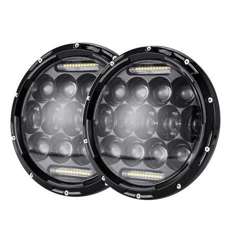 """Комплект Кръгли LED фарове 7"""" 70W H4 букса, къси, дълги и дневни"""