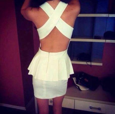 Asos чисто нова бяла рокля с гол кръстосан гръб