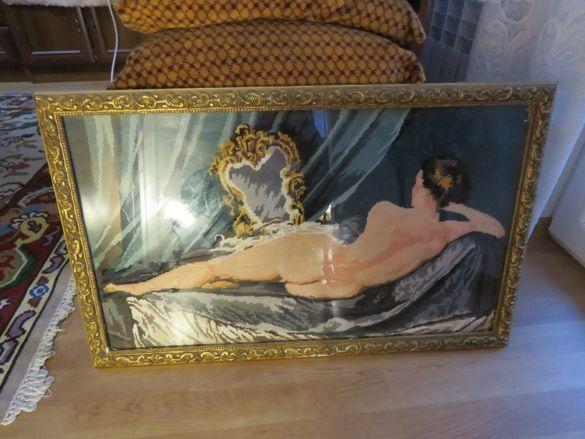 Стар Голям гоблен с красива рамка - Дамата пред огледалото - красотата