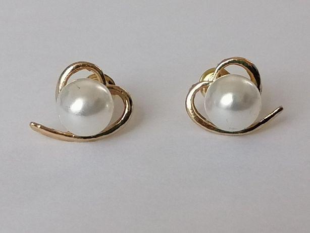 GPA39, cercei placați aur 14k, model deosebit, perle
