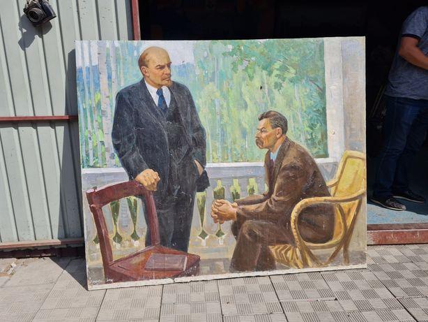 Продам картину Ленин и Горький. Хольст масло. Соцреализом.