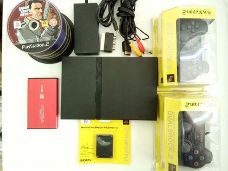 Плейстейшън 2 PS2 пълен комплект с 2бр. джойстик и 70 игри хард диск