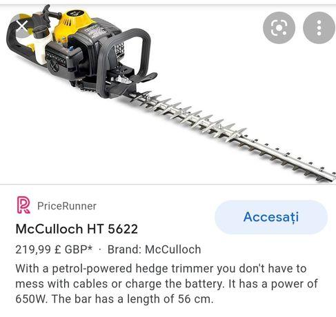 Tăietor de gard viu, mâner anti-vibrati McCulloch HT 5622
