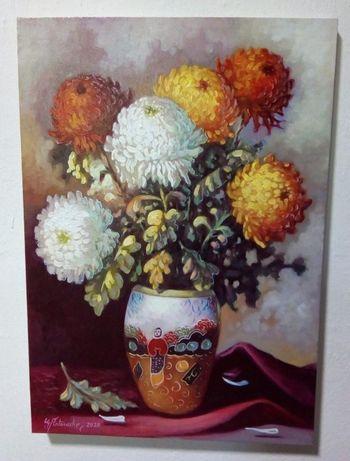 "Tablou ""Vaza cu flori"" - ulei pe panza - 38x54 cm"