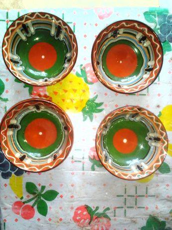 Керамичен комплект Кана с 6 чаши за вино,4 керамични купички за су
