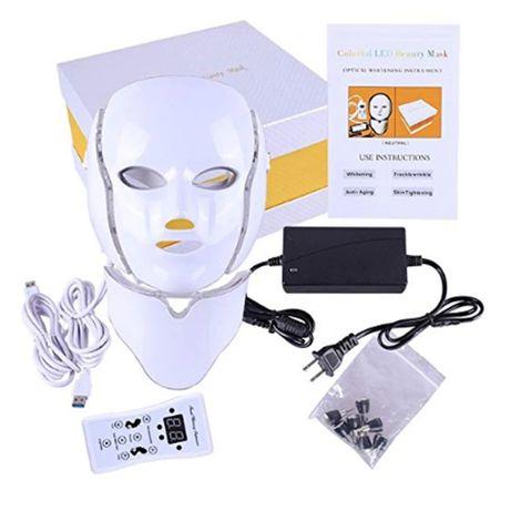 Козметична LED маска за лице и шия, светлинна, фотодинамична терапия