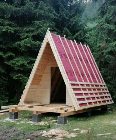 Confecționăm case modulare pe structură metalică învelite cu panou san