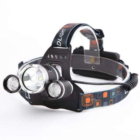 Super Lanterna Frontala LED T6 cu 6 acumulatori cu Garantie