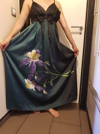Дамска дълга официална рокля, синя, презрамки