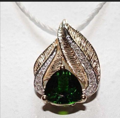 Pandantiv aur diopsid verde intens si diamante