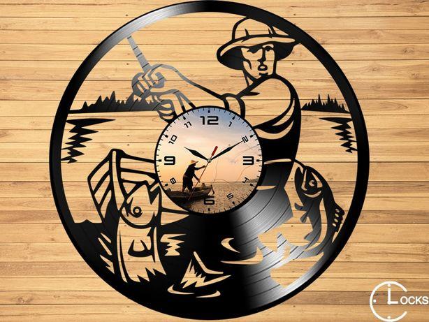 Ceas de perete din lemn Pescar | undita stil accesori retor peste