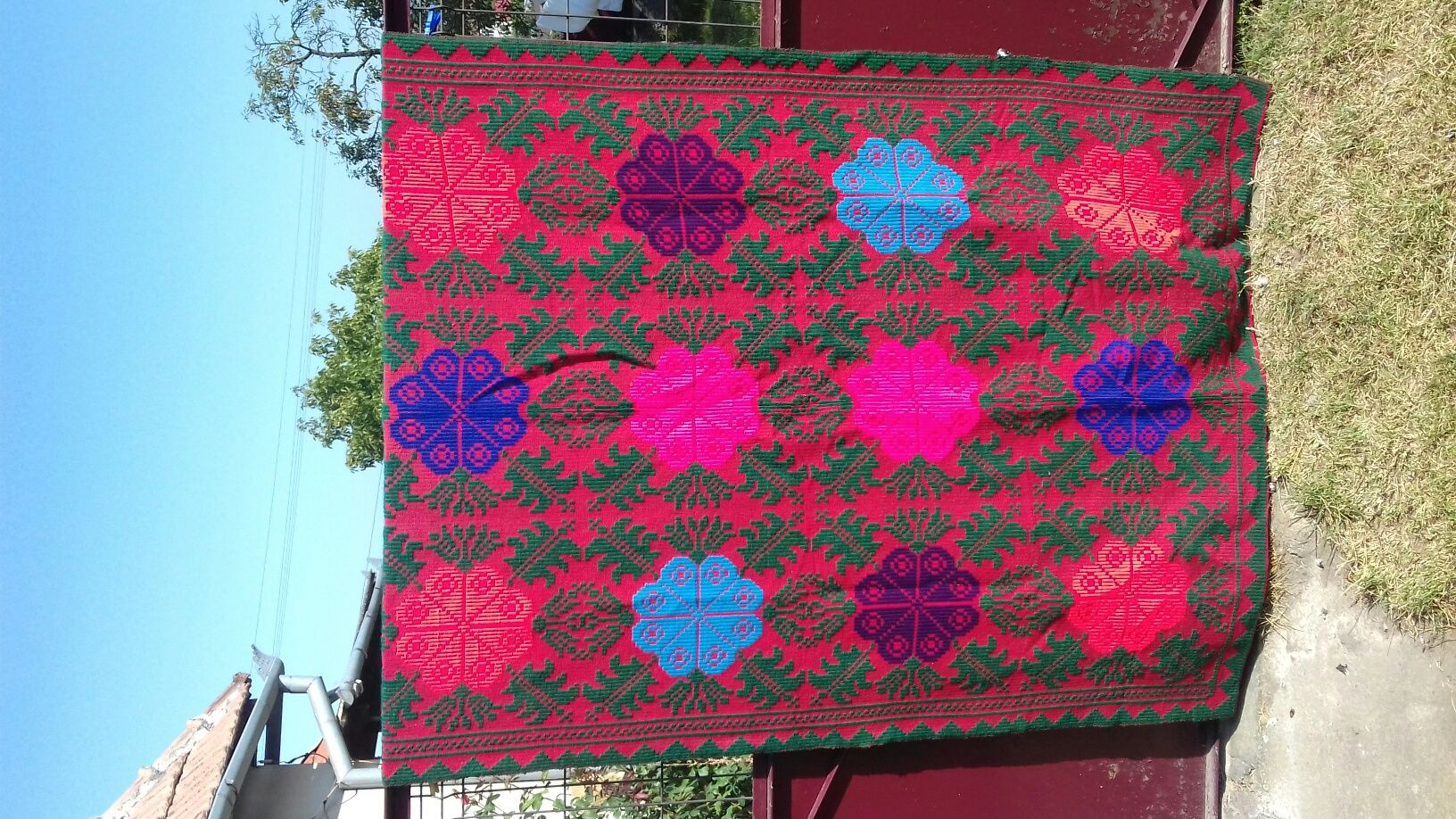 Pătură țărănească tradițională din lănă (Zona Bihorului )Handmade