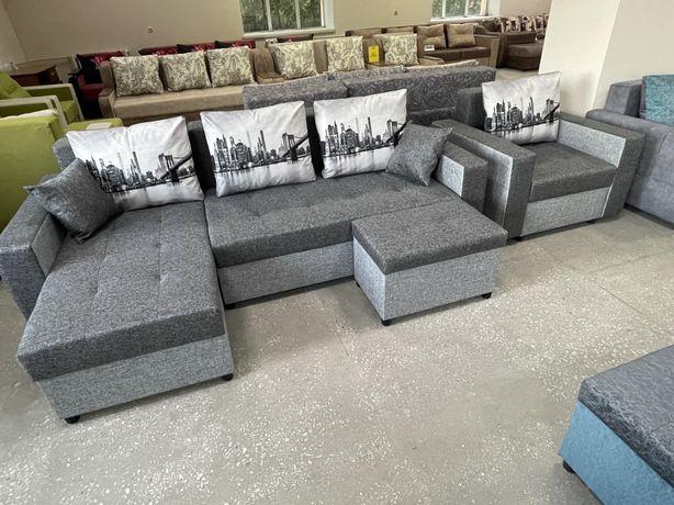 Новый угловой диван + кресло-кровать+пуф