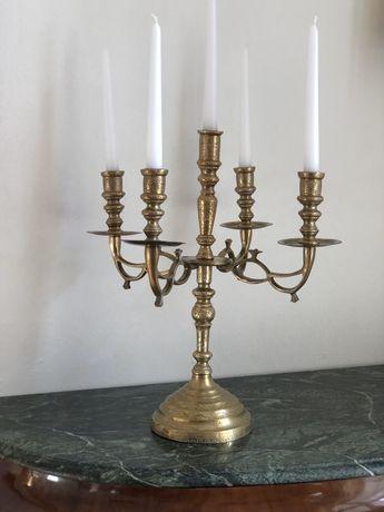 Sfeșnic vechi de bronz masiv cu 5 brațe