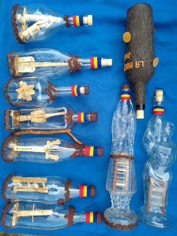 Sticle artizanale cu sculptura interioara, pt. palinca. Cadou