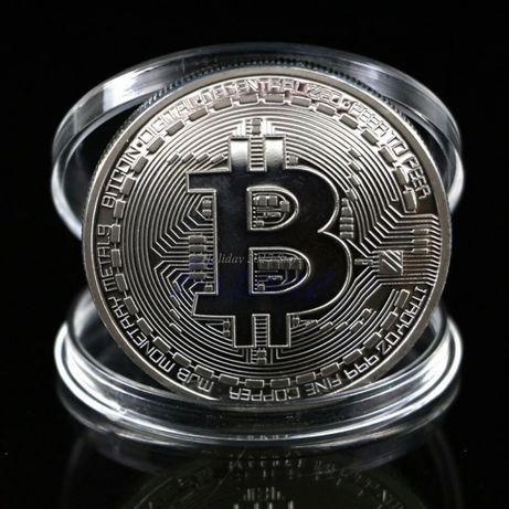 Moneda bitcoin-suflata în argint