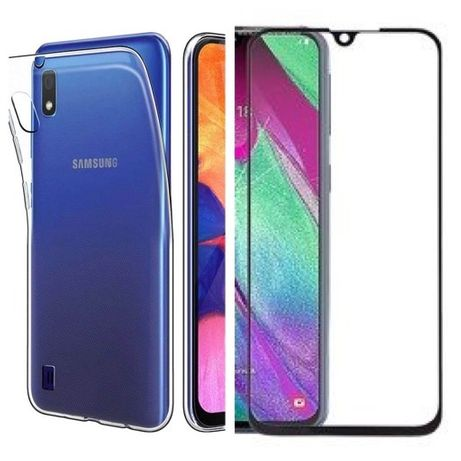 Husa Slim Silicon si Folie Sticla Curbata Samsung A10 A20e A31 A30s