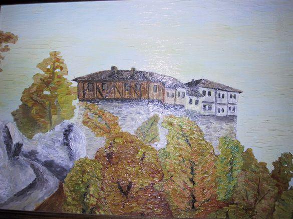 Манастир - картина с маслени бои