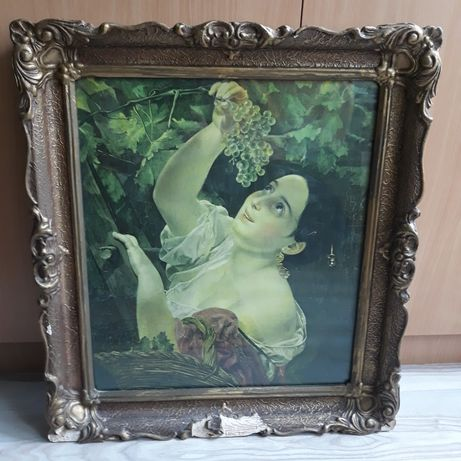 Vând tablou vechi Fata cu struguri