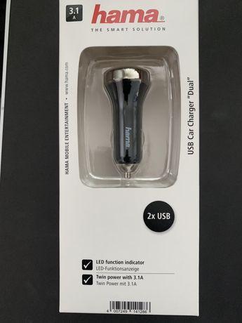Încărcător auto dublu USB 3.1A Hama, NOU, SIGILAT
