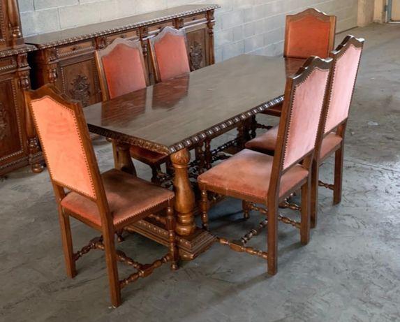 Masa cu 6 scaune din lemn masiv