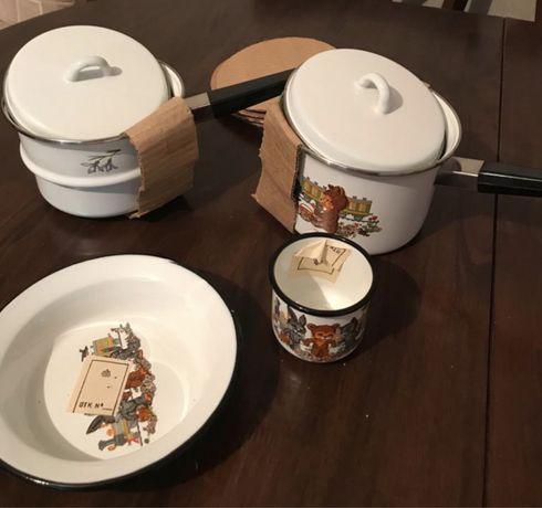 Набор эмалированной детской посуды