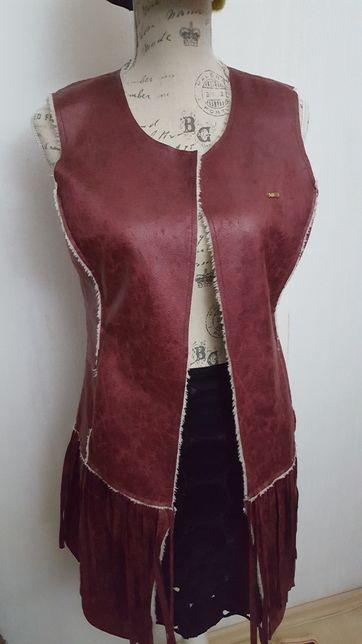 Vestă lungă blană artificială stil cojoc cu franjuri
