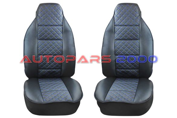 Калъфи за предни седалки тип Масажор S STYLE / Черно със син шев