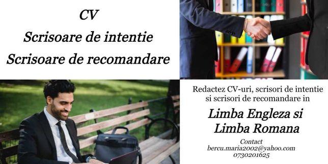 Redactare CV, Scrisoare de Recomandare/ Intentie in Engleza si Romana