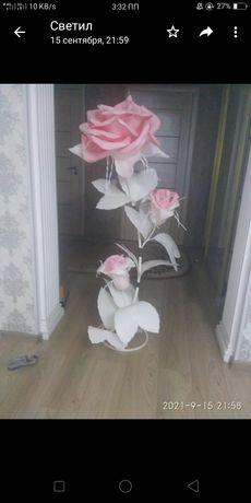Светильник роза из изалона
