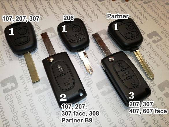 Кутийка за ключ за Peugeot/Пежо 107,207,306,307,308,407