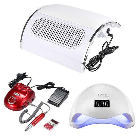 Професионален комплект със 48W UV/LED лампа, прахоуловител и ел. пила