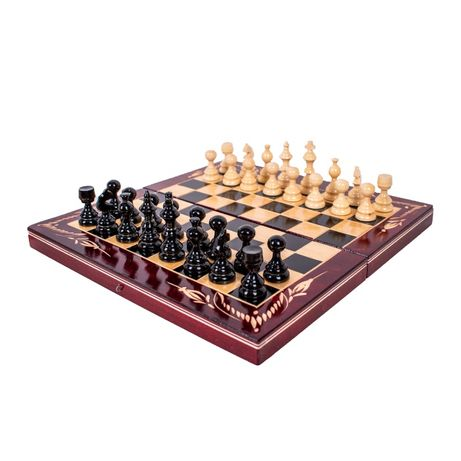 Дървен шах с табла + дървени фигури и пулове, 4 размера, 3 цвята