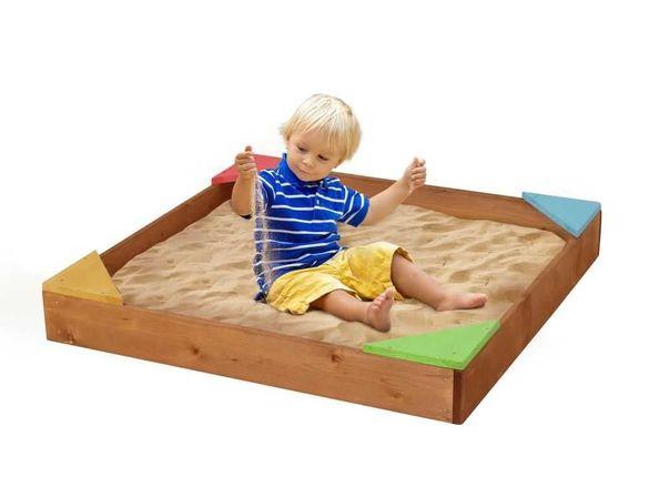 Beluga, дървен пясъчник с цветни зони за сядане, 90x90x12 см